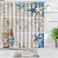 Shower Curtains Beach Shell Blue Starfish Bath Mats Set Creative Design Home Decor Door Pad Flannel Bathroom Carpet Non-slip Rug