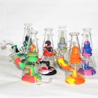 Silicone Water Pipe Hookahs Mini Beaker Bong unbreakable Oil Rig with bowl quartz banger nails glass smoking pipes