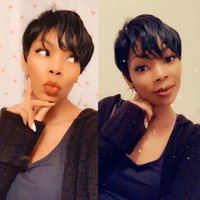Brazilian virgin human hair Short Cut Wig for black woman Celebrity Natural Color Mix Straight Pixie Wigs