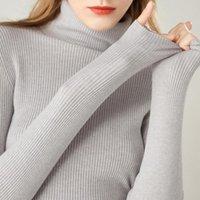 Женские свитеры Sherhure 2021 Черепаха шеи осень с длинным рукавом женщин вязаный тонкий подходящий свитер и пуловеры тянуть Femme Tricot