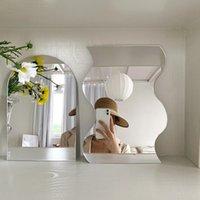 مائج الجمال الاكريليك ورقة غير النظامية حافة سطح المكتب مرآة ل ماكياج الأثاث الزخرفية