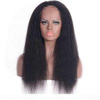 Kinky Düz Peruk Dantel Ön İnsan Saç Peruk Moğol 360 Dantel Frontal Peruk 130% Yoğunluk Yaki İnsan Saç Peruk