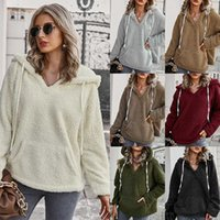 Independent women's V-neck sexy Hooded Sweater autumn winter 2019 new solid color sweater coat