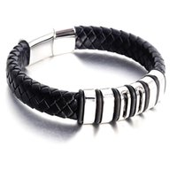 Punk Braid Leather Bracelet 19 21 22cm Stainless Steel Bangle For Men Jewelry Black Rope Chain