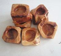 Hölzerne Aschenbecher Holz Runde Braun Asche Halter Rauch Zigarette Aschenbecher personalisierte Lables braune Tasche Aschenbecher über Home Aschenbecher DWC6840