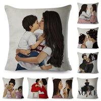 Vogue Super Mom and Baby Pillow Case Fashion Cartoon Cushion Cover for Sofa Home Car Decor Mama Children Print Linen Pillowcase