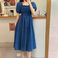 Рукава платье женщины лето короткий слойчатый твердый плиссированный квадратный воротник среднего теленка элегантные корейские повседневные свободные платья женские a-line Blue