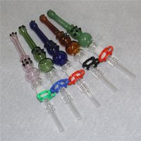 14mm Joint Mini Nectar Collector Kit Micro NC Kits Glass Hookahs Smoking Dab Straw Nector Collectors With stainless steel Quartz Tips