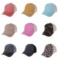 패션 파티 장식 레오파드 포니 테일 모자 9 색 씻어 메쉬 위장 야외 스포츠 야구 모자