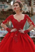 Other Wedding Dresses 2022 Luxury Red Sweetheart Bead Dress Long Sleeve Stain Tulle Ball Gown Zipper Bridal For