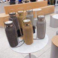 Bling Luxus isolierte Wasserflaschen Perlen Kristall Mode Designer Wärmedämmung Edelstahl Tumbler mit Kasten Gold Silber Thermos