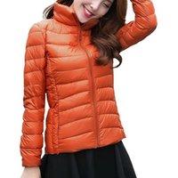 Ультральчайшая куртка ультра легкая стройная подходящая зимняя тонкая Parka 3XL стенд шеи женские стеганые обратимые вниз по молнию фугу