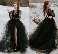 Vintage Bobemian Nero Pizzo Tulle Gothic Weddic Abiti da sposa con maniche lunghe Sexy Sheer Top Slit Skirt A Line Bridal Gowns Due pezzi