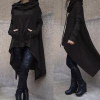 Women Long Irregular Sweatshirts Hoodies Ladies Plus Size Sleeve Hood Tops Solid Color Sweatshirt Punk Streetwear #3 Women's &
