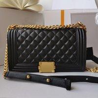 Patentleder Handtasche Klassische Mode Marke Designer Luxurys Frauen Crossbody Lammbeutel 5A Qualität Echte Lämmer Haut Handtaschen Gold Kettenklappe Ursprüngliche Nachahmung