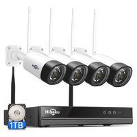 HISEEU 8CH 3MP Wireless Surveillance Camera Audio CCTV Kit de Áudio para 1536P 1080P 2MP WiFi Outdoor Security Câmeras Sistema Sistema