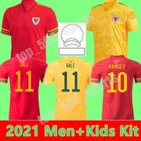 الرجال + الاطفال كيت 2021 ويلز الفريق الوطني لكرة القدم جيرسي 21 22 طفل قميص كرة القدم الفتيان بيل مايلوت دي القدم رمزي أحمر أصفر