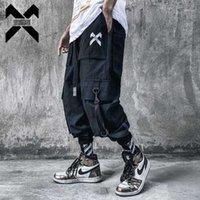 11 Bybb's Dark Streetweaw Cargo Bang Men Fashion Pocket Ribbon Joggers Лодыжки Длина Брюки Брюки Сфальники Мужской BB551