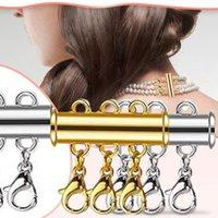 Ketten 4PC Slide-Verschlussschloss für Halskette Magnetische Rohranschlüsse Layered Armband Schmuck Multi-Stränge Handwerk Spacer