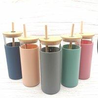 480ml 16oz Glass Mug Juice Cup Milk Mugs With Silicone Sleeve Bamboo Lid Straw Enviroment-friendly Novelty Tumbler sea shipping GWB10928
