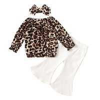 Clothing Sets 3Pcs Little Girls Outfit, Toddlers Leopard Print Long Sleeve Round Collar Tops + Solid Color Bell-bottomed Pants Headwear 1-5T