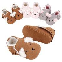 Первые ходунки зимние милые животные стиль детские ботинки младенческие малыши мокасины кроватки обувь