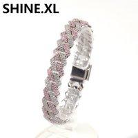 Blue Pink Zircon Miami Prong Cuban Link Bracelets Full Iced Out Lab Diamond Bracelet Mens Hip Hop Jewelry 13MM
