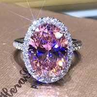 Choucong Brand Wedding Rings Luxury Jewelry 925 Sterling Silver Large Pink Topaz CZ Diamond Gemstones Eternity Women Engagement Band Ring For Lover Gift