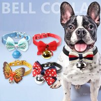 Pet products fashion dog Collars Bow Big Bell Pets chokers Cat collar Dogs bows tie 28 style T9I001210