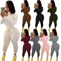 Winter Women clothes 2 piece tracksuits ribbed plush thick sportswear high neck slim t shirt skinny leggings outfits set casual sports plus size clothing
