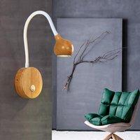 Lampada da parete in legno nordico 3W Morden Lampade a LED lampade da comodino Direzione della lettura con l'interruttore della manopola L'illuminazione indoor regolabile