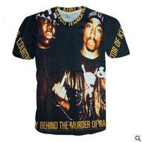 T-shirt maschili PAP STAR 2PAC Biggie Smalls 3D stampato manica corta T-shirt nera T-shirt casual hip-pop allentato tees adolescente 6afd