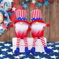 DHL American Independence Day Gnome Red Blue Blue Handmade Patriotic Dwarf Doll Bambola Bambini 4 luglio Regalo Decorazione della casa FY2607