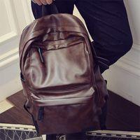 Backpack Aosbos Man Soft Leather Fashion Casual Shoulder Bag Backpacks Large Capacity School Bags Men Solid Pack Mochila