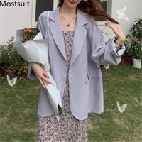 MostSuit Doble-Breasted Thin Women Traje Abrigo de manga completa Coreano Sólido Solido Chaqueta Casual Femme 210514