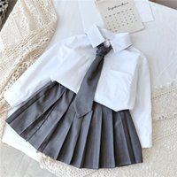 Gooporson Moda Coreana Manga larga Blusa Cardiganskirt With Necktie Fall Little Girls Ropa Uniforme Escuela Uniforme Niños Traje Ropa SE