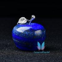 Naturlig helande kristallblå lapis figurer frukt skulptur hem prydnad
