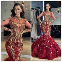 Aso Ebi 2021 Arabic Burgundy Luxurious Evening Dresses Lace Beaded Feather Prom Dress Mermaid Formal Party Bridesmaid Pageant Gowns