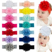 Infant Solid Color Handmade Chiffon Flower Elastic Hairband Fashion Soft Baby Girls Headband Kids Hair Accessories Photo Props
