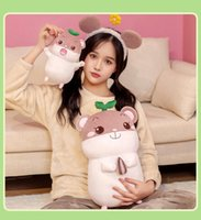 Cute Plush Toy Feather Cotton Baby Hamster Sleeping Pillow Doll On Children's Bed