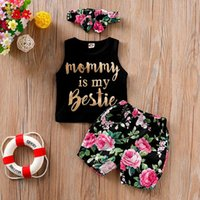 Clothing Sets Girls Clothes Summer 2021 Outfits Toddler Baby Letter Vest Tops+floral Print Shorts+headbands Casual Children Outfit