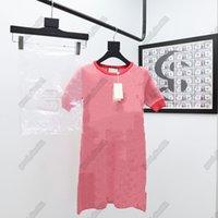 Designers de luxo Topsgg womens vestidos de alta qualidade moda na moda marca início séries de outono de malha vestido magro, vestido de senhoras elegante
