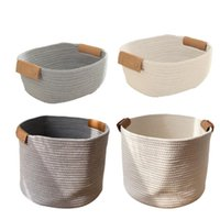 Laundry Bags Woven Storage Basket Cotton Rope Organizer Baby Baskets For Blanket Toys Towels Nursery Hamper Bin With Handle