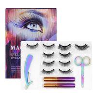 5 Pairs Lotus Transparent Support Magnetic Natural Thick Lash Handmade Eye Lashes Eyeliner Five Magnet Eyelashes Set