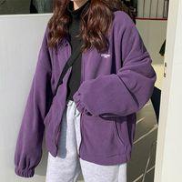 Women's Jackets Harajuku Women Zip-up Hoodies Plus Velvet Fleece Warm Winter Sweatshirts Jacket Casual Loose Stand Collar Oversized Hoodie 2