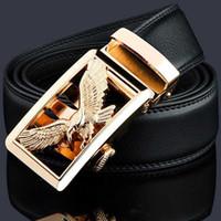 KWD الفاخرة الذهب النسر المعادن التلقائي مشبك الخصر حزام مصمم أحزمة الرجال عالية الجودة بقرة جلد طبيعي كيمير للجينز X0726