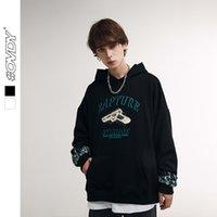 Wxwovdy otoño invierno nueva calle moda marca simple top pistola tema impresión de hombro suelto suéter con capucha hombres