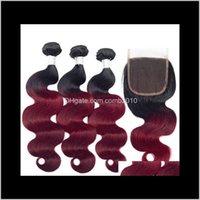 Ombre brasileño 1b / 99J onda corporal de la onda humana tejidos con cierre de encaje tejidos humanos tejidos de color Ombre Extensiones de cabello 0FNTZ EAQKP