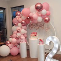 101 unids / set Pastel Rose Gold Pink Globall Garland Arch Kit Aniversario Cumpleaños Fiesta Decoraciones Globo Adulto Baby Shower Girl 339 S2