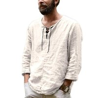 Men's T-Shirts Summer Breathable Men Short-Sleeved T-shirt Solid Color Front Lace Up Top V Neck Thin Casual Pullover